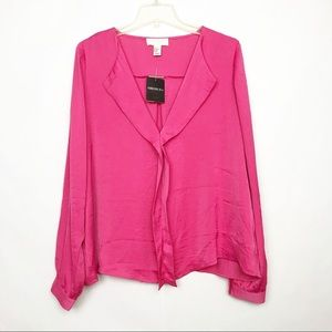 4/$25 Forever21 Pink long sleeve career blouse